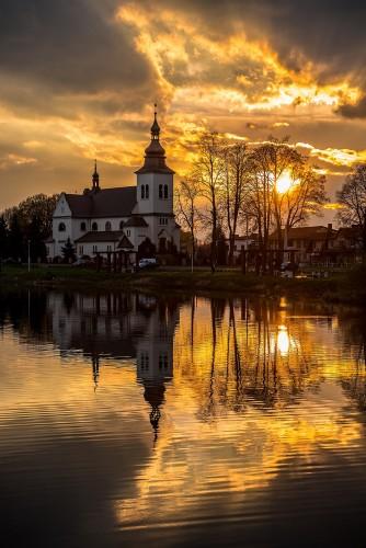 Panki - staw - kościół [zachód słońca]